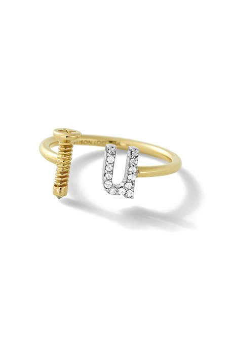 ALISON LOU 14K Gold Screw U Ring - yellow gold