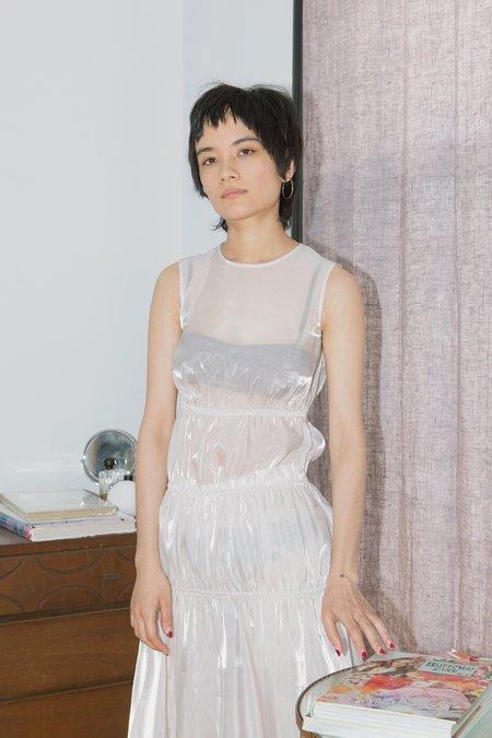 Calvin Luo Sheer Rusch Dress - Shiny Silver
