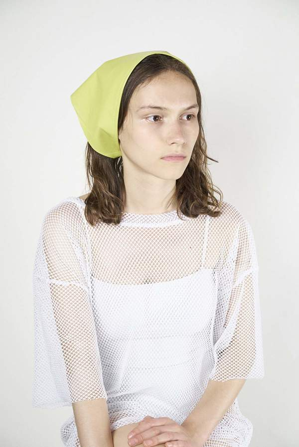 6073c96feea Clyde Lambskin Triangle Scarf in Chartreuse