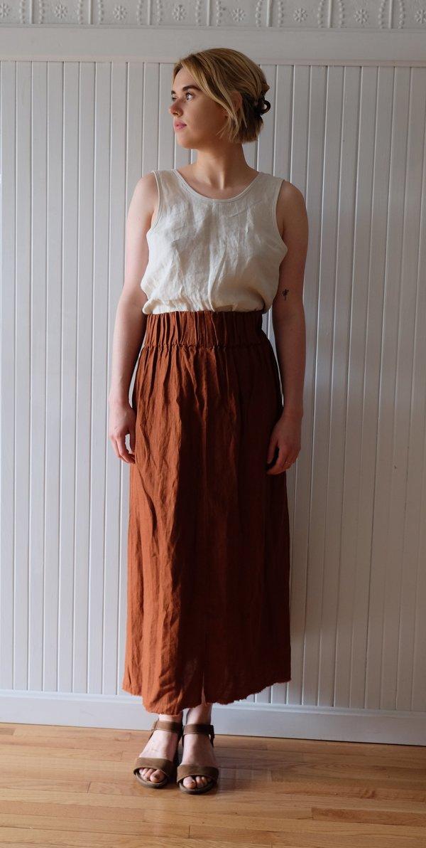 1b41d9587b Miranda Bennett Linen Paper Bag Skirt - Rust | Garmentory