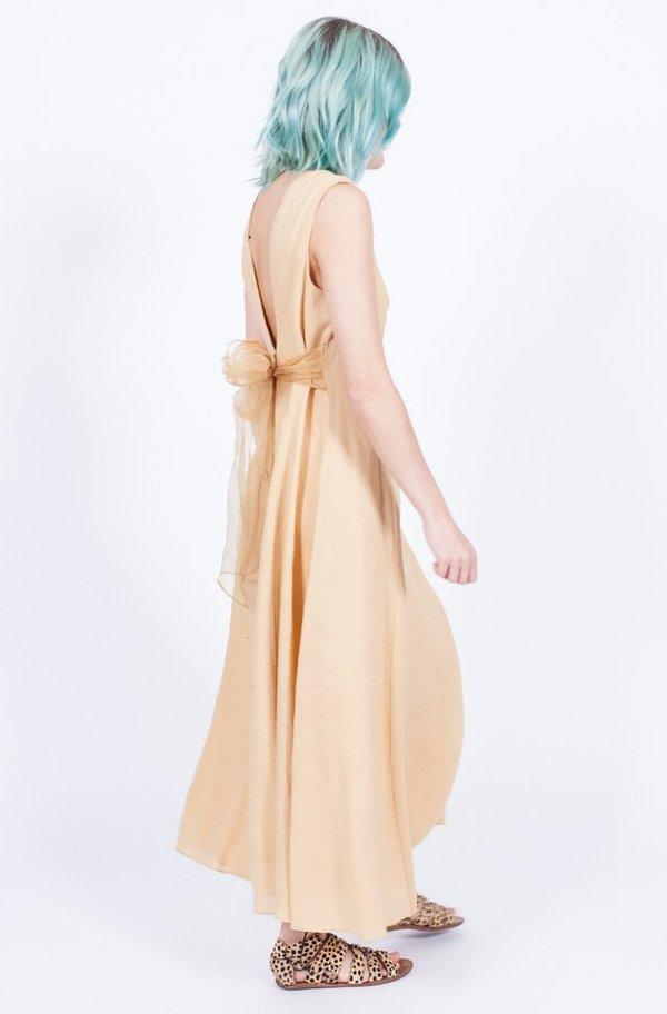 00e34ded42 Yo Vintage! Linen Bow Tie Dress - Yellow
