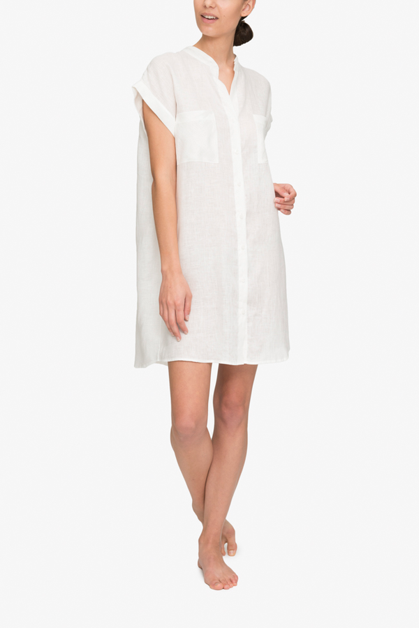 7668137db5 The Sleep Shirt Two Pocket Sleep Shirt - White Linen