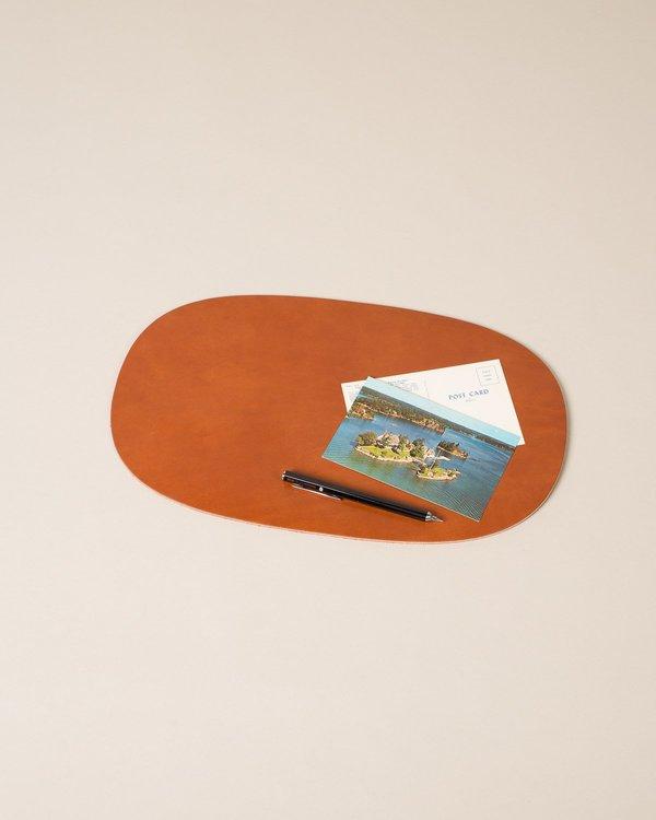 WoodFaulk Leather Oval Table Pad Buck Brown Garmentory - Oval table pad