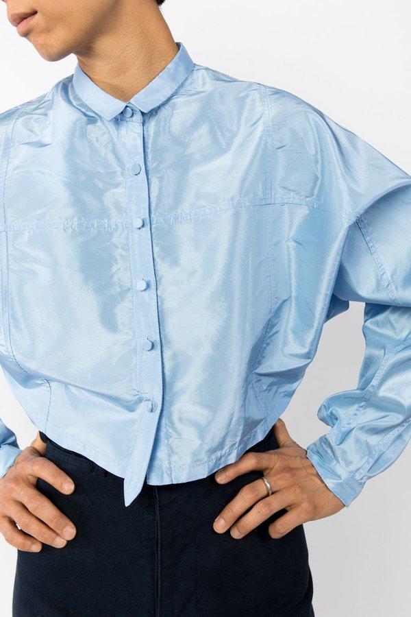 Suzanne Rae Taffeta Cropped Button Up
