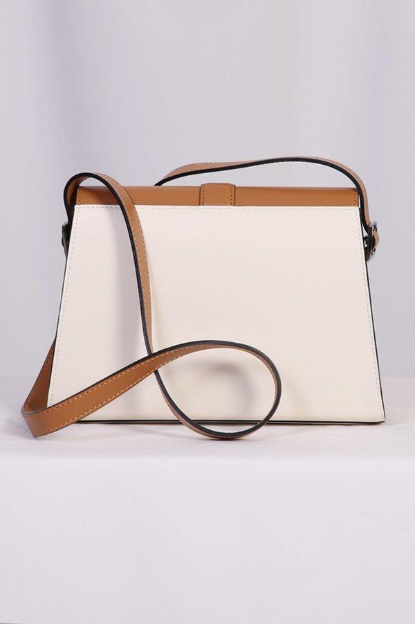 W A N T S Color Block Shoulder Bag - Light Brown/Cream