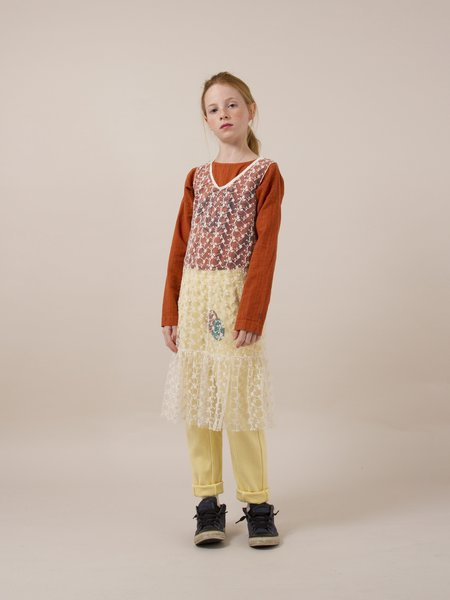 Kids Bobo Choses Tulle Dropped Waist Dress - White