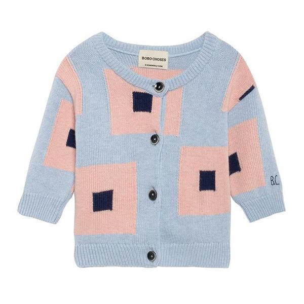 ee8a8e3bb kids baby Bobo Choses Cardigan - Blue Pink Squares