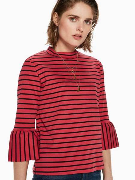 Maison Scotch Striped Ruffle Tee - Red/Black