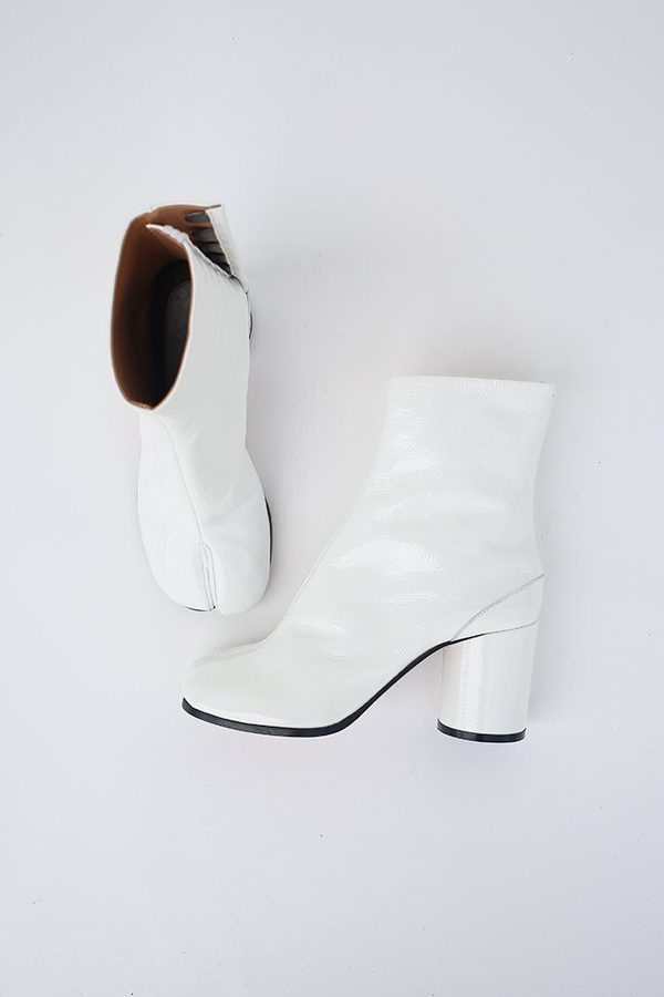 outlet online authentic quality where to buy maison margiela Patent Leather Tabi Boot - White   Garmentory