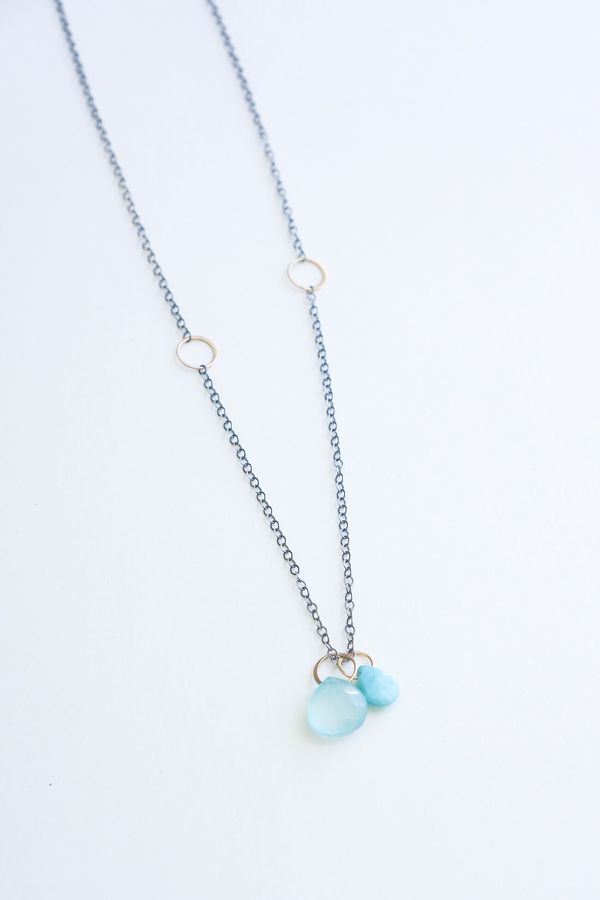 Melissa Joy Manning  Two Drop Adjustable Necklace - 14K Yellow Gold/Sterling Silver Turquoise/Blue Chalcedony