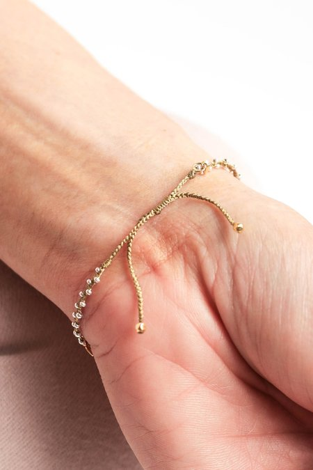 Tai Braided String Bracelet With Seed Beads and Plain Leaf Charms - SILVER/GOLD