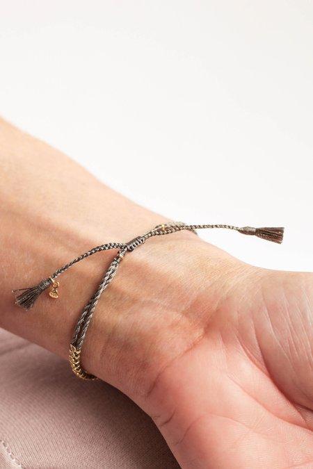 Tai Braided Nylon Bracelet - Dusty Grey/Gold