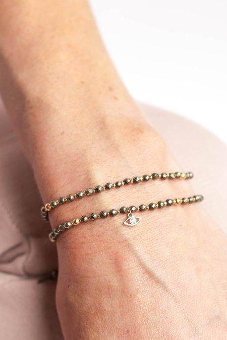 Tai Double Strand with Beads Evil Eye Charm Bracelet - Pyrite/Gold