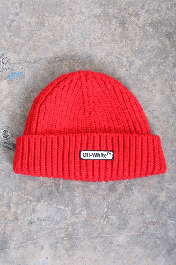 6bdde6edb Off-White Ribbed Logo Beanie - red on Garmentory