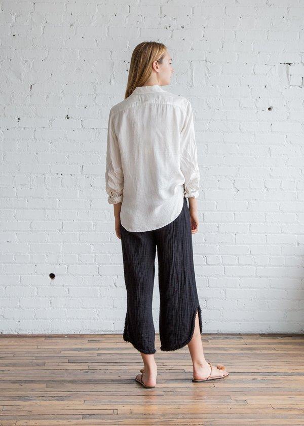 Raquel Allegra Silk Damask Bandana Work Shirt - Solid White