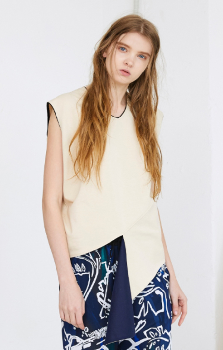 NUVO 10 Edgy Slit Sleeveless Blouse