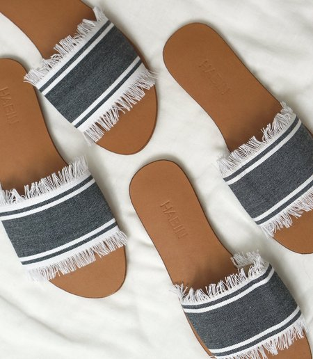 HABIN TALIA SLIDES - GRAY+WHITE