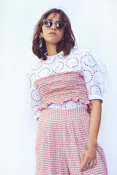 N-DUO checkered top - Pink