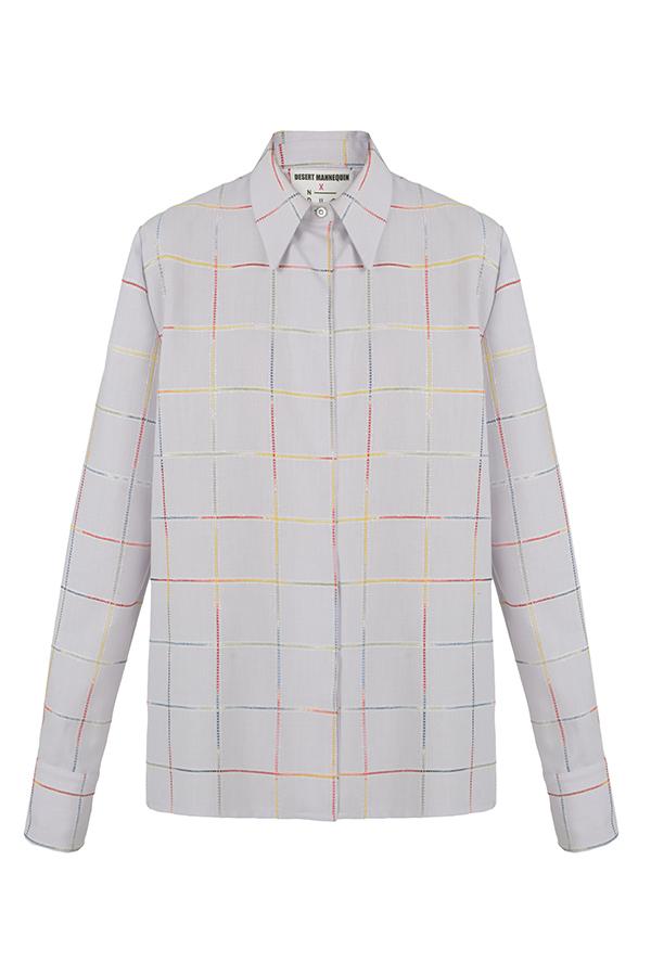 N-DUO shirt - Violet checkered