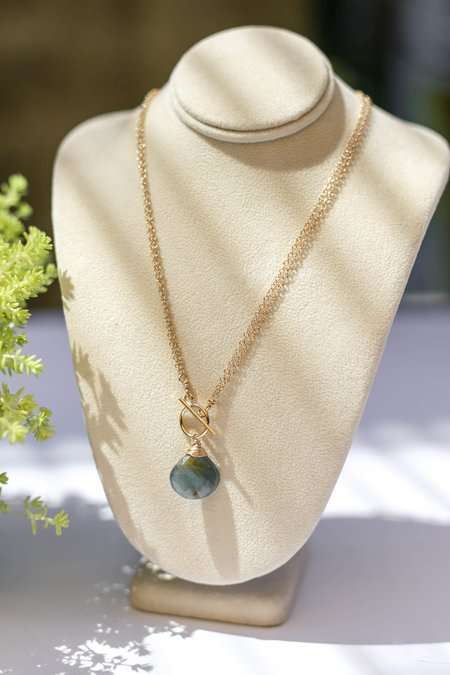Bloom Gemstone Two Strand Precious Metal Toggle Necklace