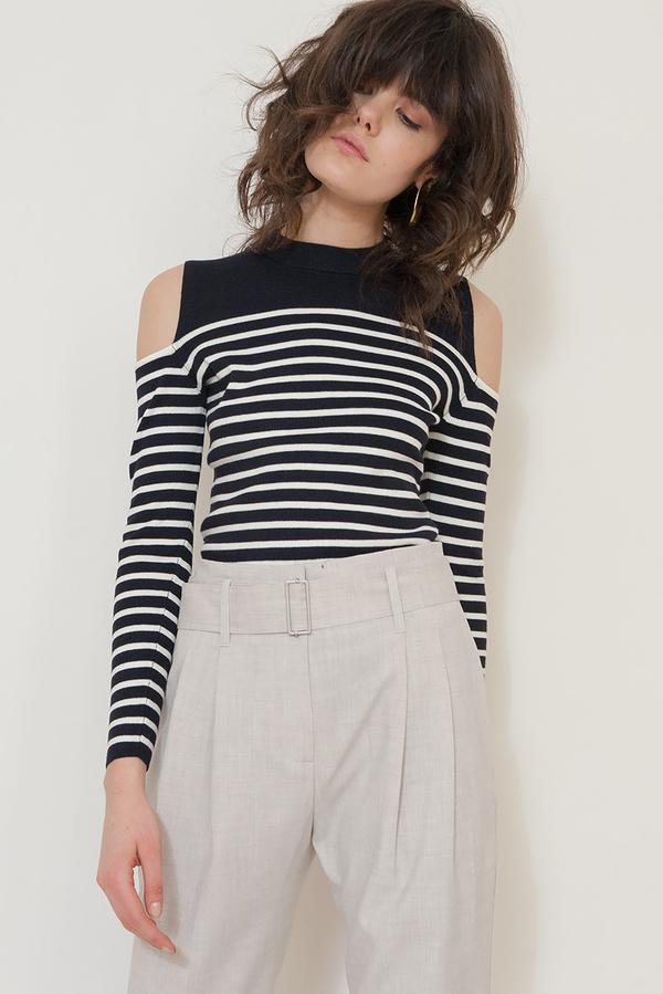 4be4af61f1 JUST FEMALE off shoulder sweater - Blue White Stripe