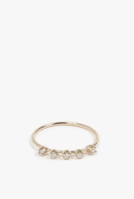Loren Stewart Five Diamond Prong Ring - 14k Gold/White Diamond