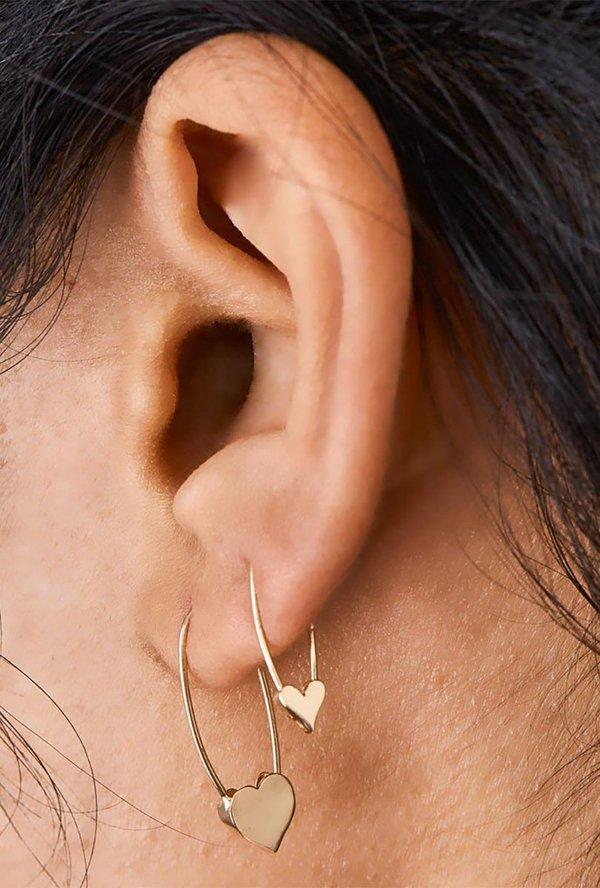 92a0bed523510 Loren Stewart Heart Safety Pin Earrings