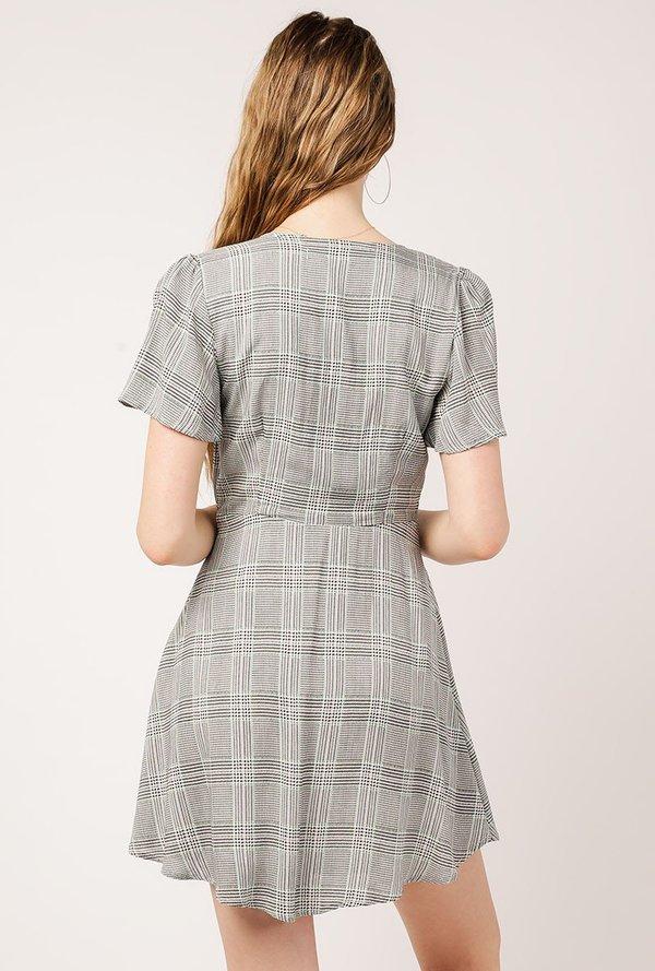 Azalea Plaid Ss Tie Front Dress Blackmint Garmentory