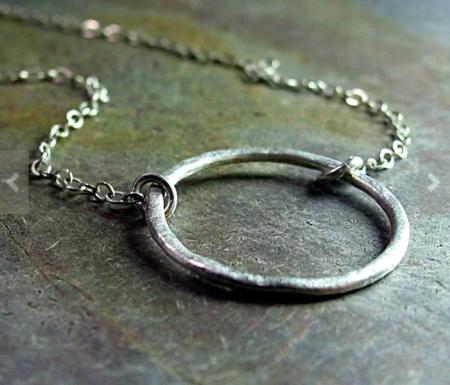 Lavender Cottage Circle Pendant Necklace - Silver
