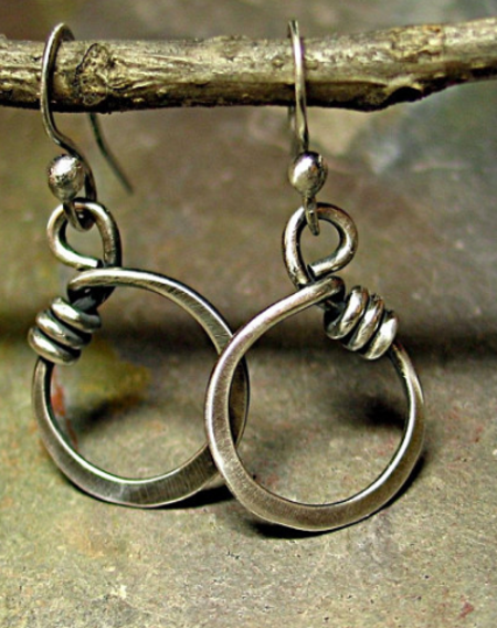 Lavender Cottage Wrapped Oh Earrings - Silver