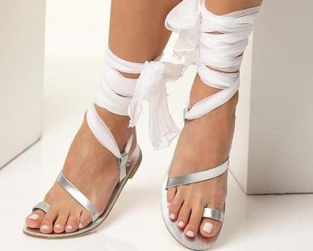 Greek Chic Wedding on the Beach Sandals - Silver