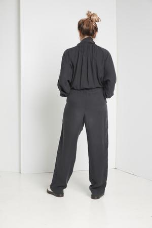 Black Crane Gathered Jumpsuits