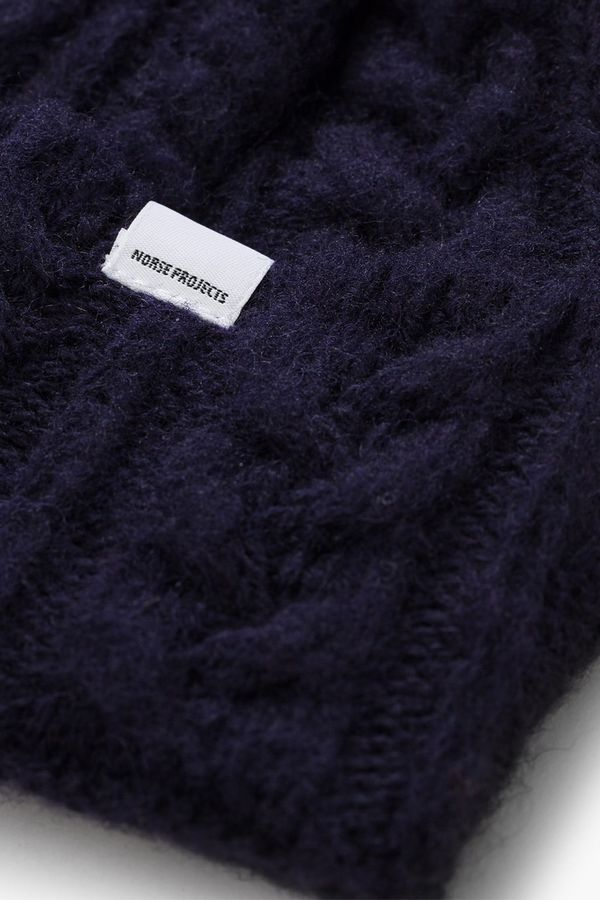 ff91b752d8b Norse Projects Brushed Cable Beanie - Dark Navy