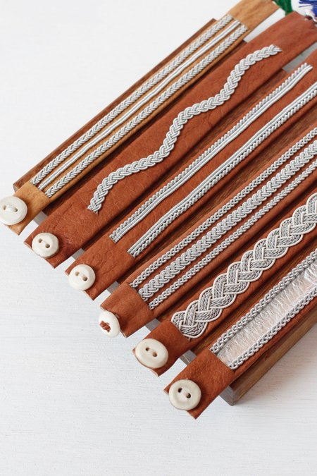 Maria Rudman Pewter Embroidered Leather Bracelets B/C