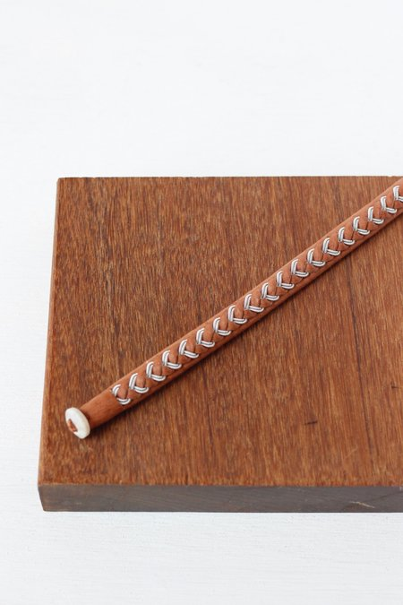 Maria Rudman Medium Braided Leather/Pewter Bracelet A