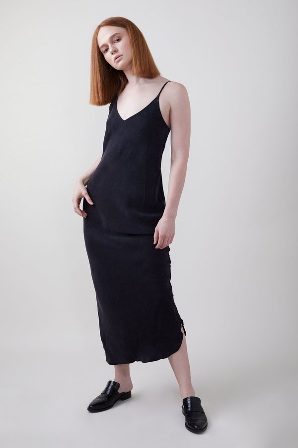 13611742362 Ozma Long Cupro Silk Slip Dress Black Garmentory