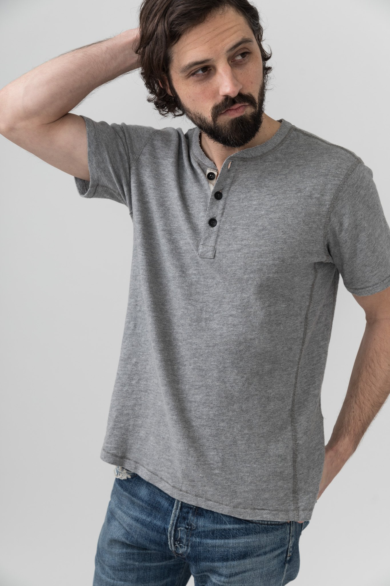 3be080ee39b Rag & Bone Short Sleeve Henley - Gray