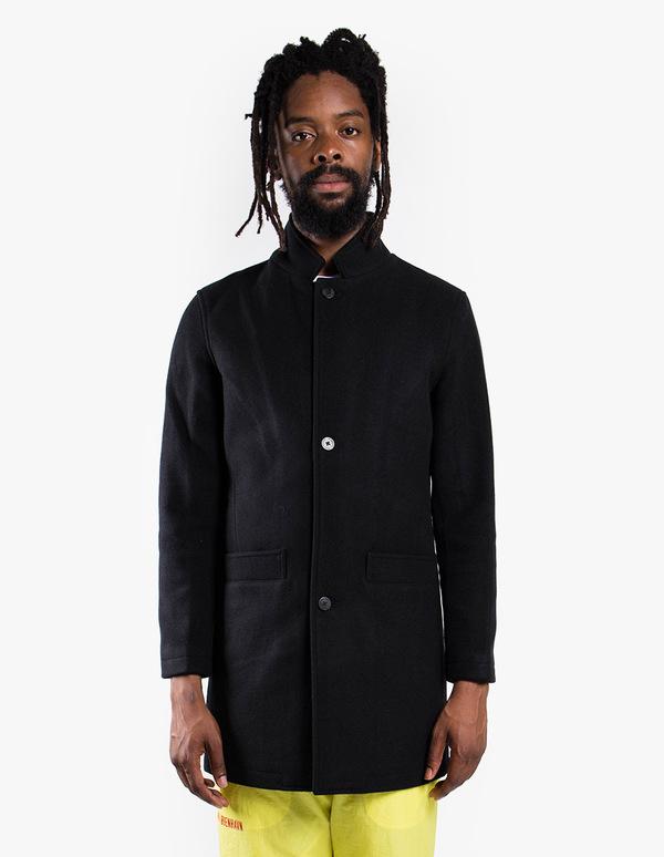 5e685af3675 Han Kjøbenhavn Bankers Trench - Black Wool
