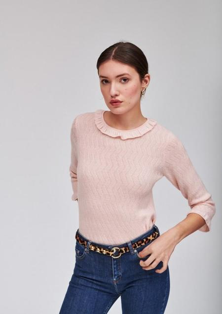 Tara Jarmon Thin Sweater with Ruffles - Pale Pink