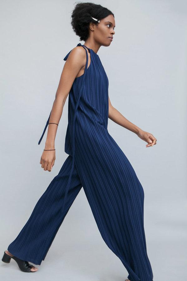 Lera pivovarova isa plisse overalls -  deep blue