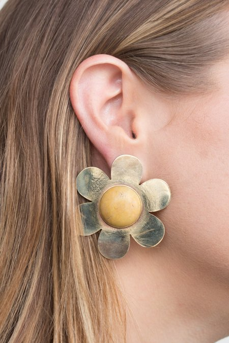 Cities In Dust Large Daisy Earrings with Yellow Jasper