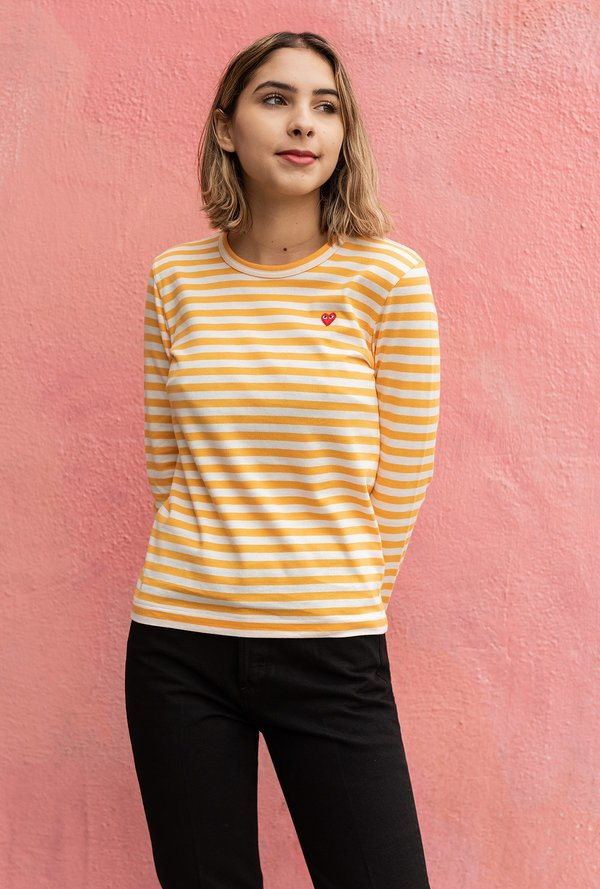 266aa00c2 Comme des Garçons Play Striped Tee - Yellow/White | Garmentory
