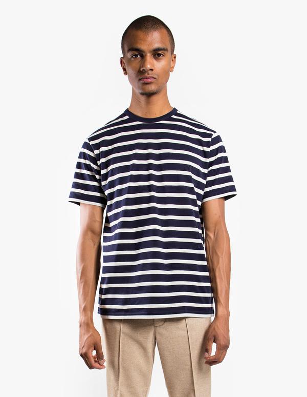 Sunspel Short Sleeve Striped Crew Neck T-Shirt - Navy/Ecru