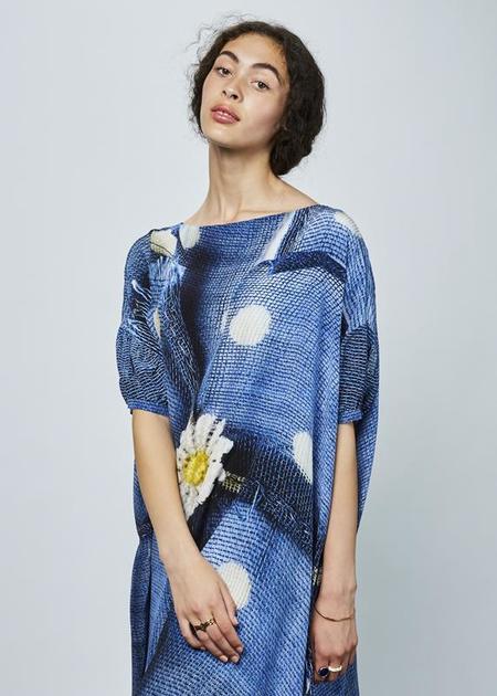Antoni + Alison Daisy and Dots Oversize Dress - Blue Daisy Print