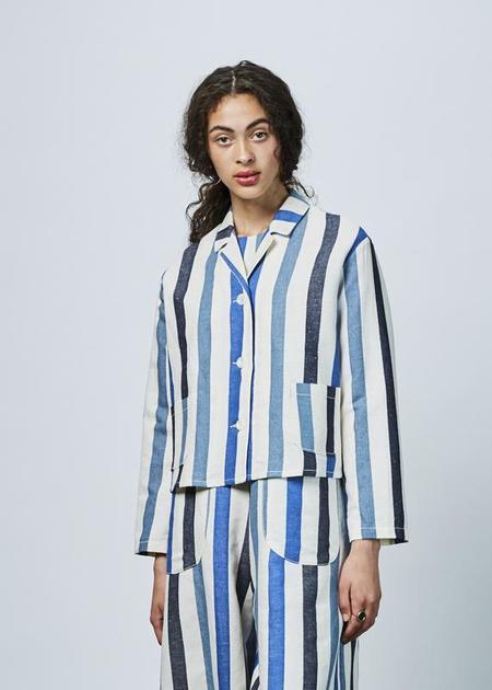 AVN Linen Blend Striped Blazer - Blue Stripes