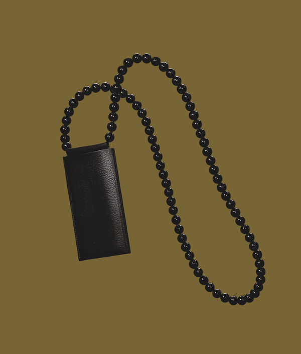 Building Block Iphone Sling With Black Beads