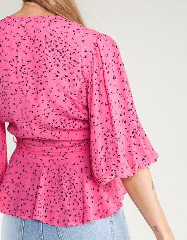 12ec6fee62 Ganni Barra Crepe Wrap Blouse - Hot Pink. sold out. Ganni