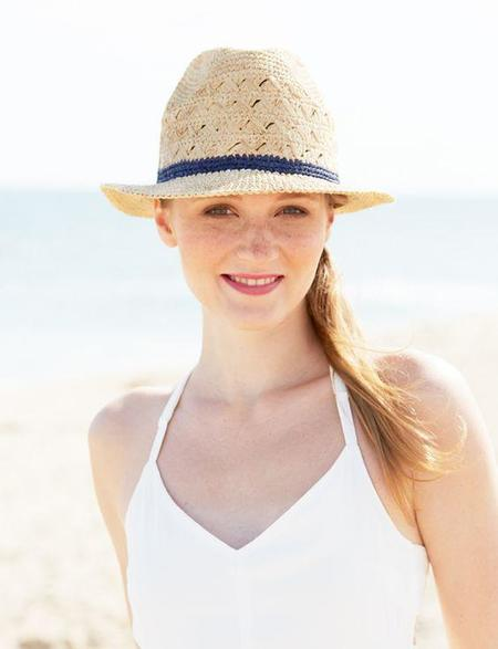 Mar Y Sol Avery Crocheted Fedora - Natural/Navy Stripe