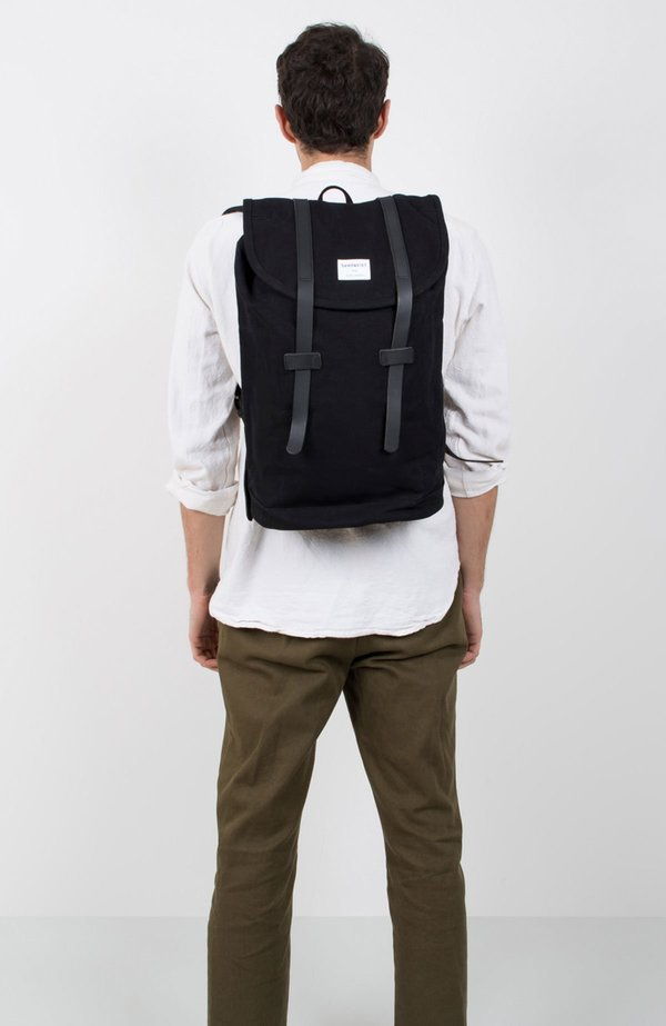 Sandqvist Stig Large Canvas Backpack - BLACK  10c83249a9