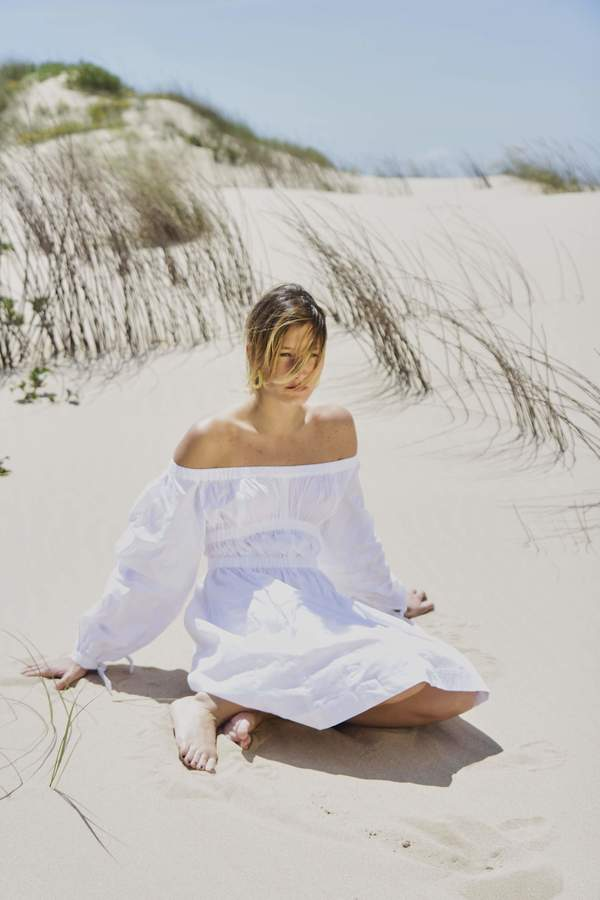 House of Sunny Cold Shoulder Dress - WHITE